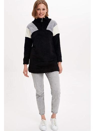 DeFacto Fermuarlı Uzun Sweatshirt Siyah